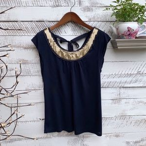 Loft Navy Tie Back Top with Gold Sequins